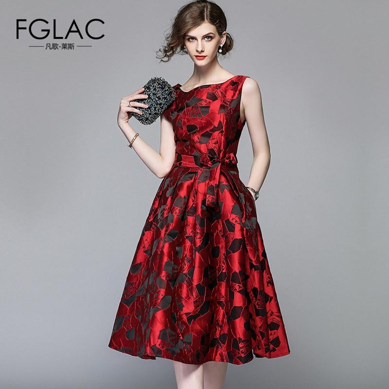 FGLAC Women dress Fashion Elegant Slim High waist Vintage dress A Line Knee Length summer dress Jacquard Party dresses
