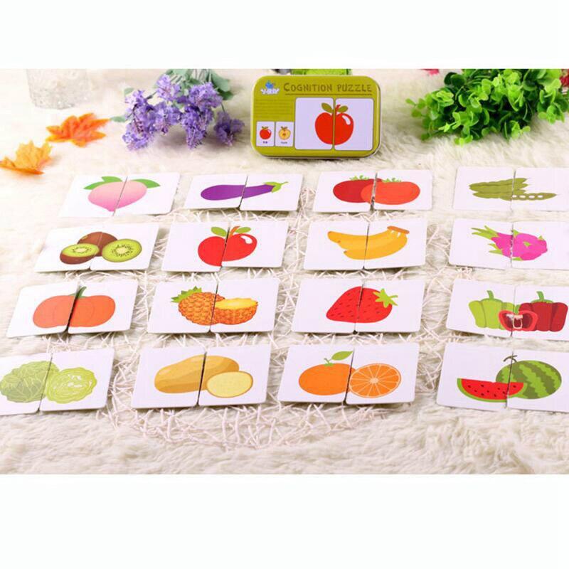 Babyspeelgoed Zuigeling Vroeg beginnen met trainen Puzzel Cognitieve kaart Auto / Fruit / dierpaar Puzzel Babygift kan niet gescheurd worden