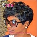 Человеческих волос черный парик вьющиеся волосы парики афро кудрявый вьющиеся волосы перед парики бразильские волосы короткие парики для чернокожих женщин