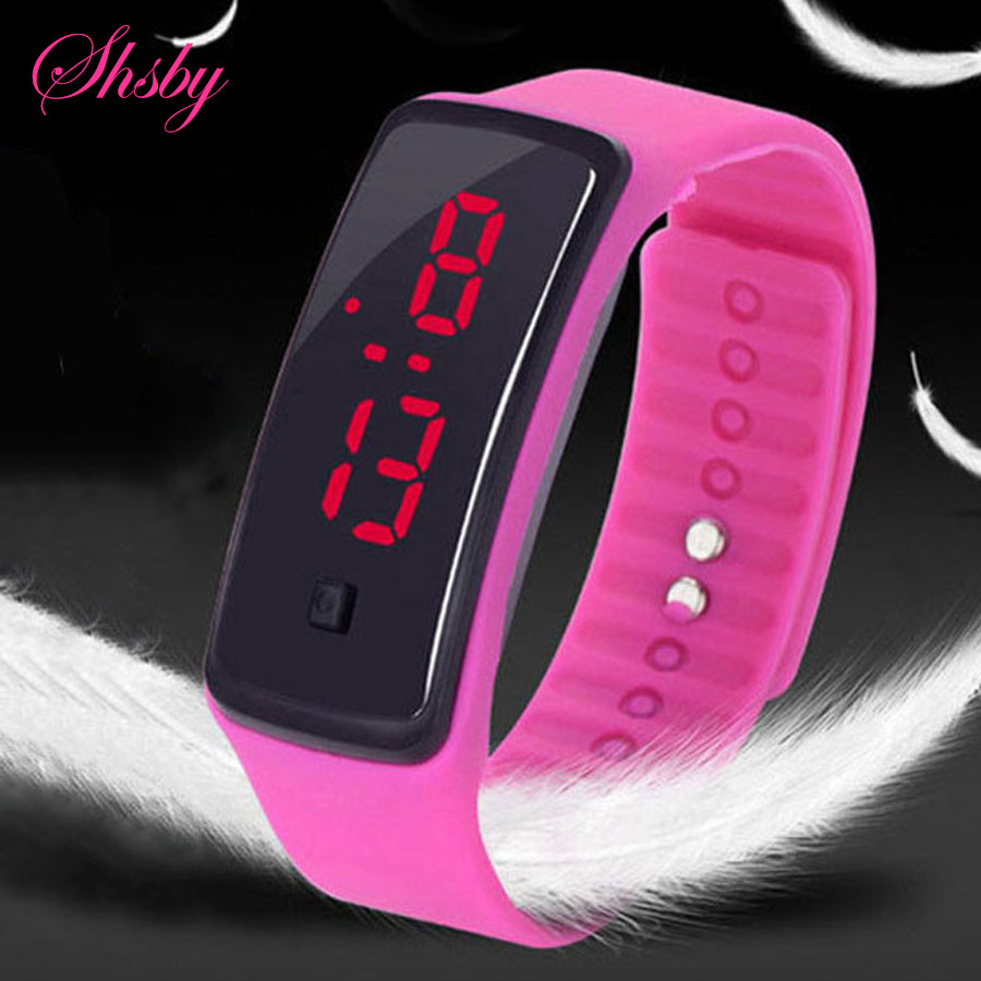 Shsby Brand New LED Silicone Watch Fashion Children Sports Watch Simple Colorful Bracelet Watch Couples Digital Watches Gift