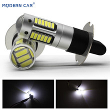 MODERN CAR 2pcs H3 4014 30SMD Super Bright LED Car Fog Lights DRL Daytime Running Light Auto Lamp Bulbs Led Driving Lights 12V 2pcs h11 9006 led fog lamp bulbs car led daytime running lights super bright drl lights 360 degree white