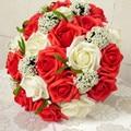 2017 dama de Honor Nupcial de La Boda Bouquet Barato Nueva Llegada de Rojo y Marfil Artificial Hecha A Mano de Flores de La Boda Ramos de Novia