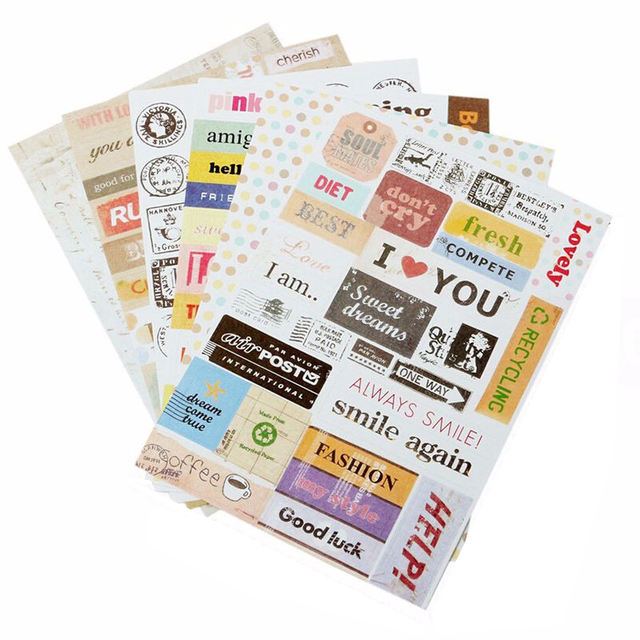 6pcs lot decorative stickers diy letter print calendar paper sticker sticky for scrapbooing diary planner