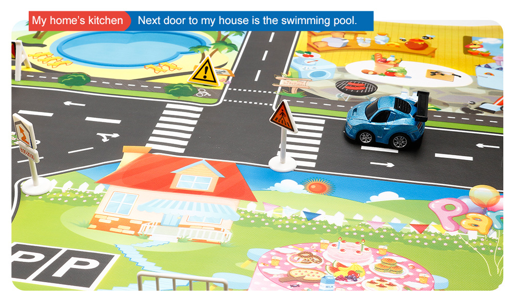 HTB1mJ5TawKG3KVjSZFLq6yMvXXaW 130*100cm Children's Traffic Car Play Pad Parking scene big map kids play maps Parent child toys boy girl kids toy game mat map