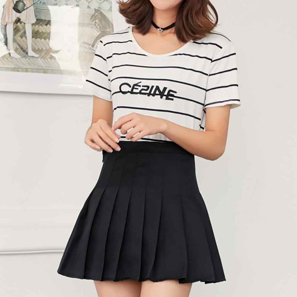 7d2fc2e1e2 Moda mujeres Mini faldas plisadas Color sólido alta cintura tenis Skater  Falda corta