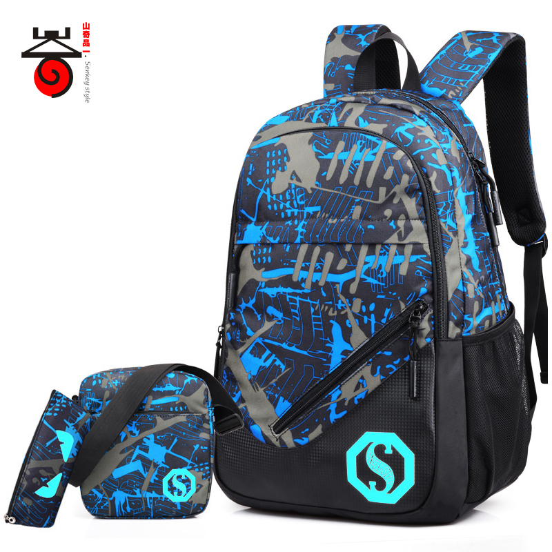 2018 Senkey style Fashion Men's Backpacks Male Casual Travel Luminous Mochila Teenagers Women Student School Bag Laptop Backpack-in Backpacks from Luggage & Bags    1
