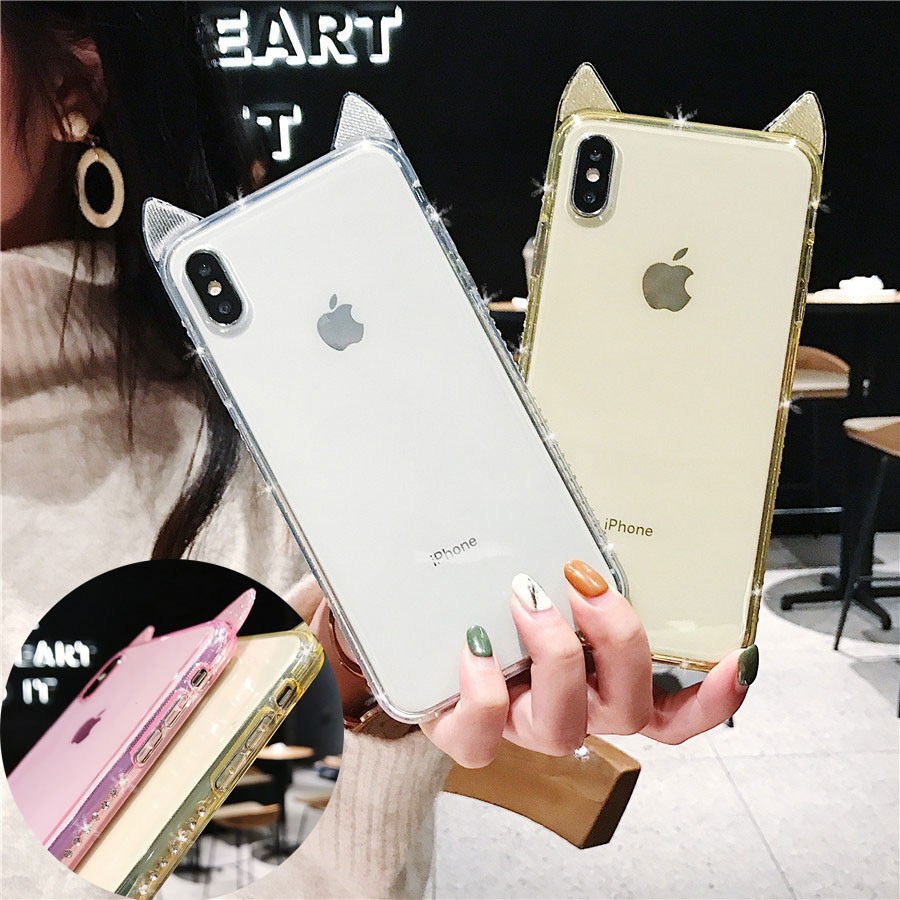 Diamond Around Soft Case For Iphone X Xs Max Xr 10 6 6s 7 8 Plus Cute Bling Glitter Cat Ear Clear Tpu Silicone Cover Dropproof
