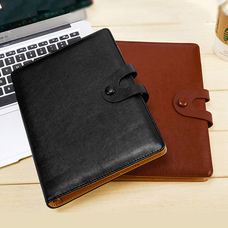 RuiZe business office notebook A5 leather cover spiral notebook planner 6 ring binder notepad note book stationery saturday a5 business notebook notepad office book color leather cover wholesale custom 1 pcs random color
