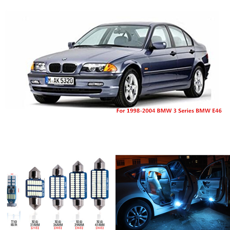 20pcs White Canbus Error Free Car LED Light Bulbs Interior Package Kit For 1998-2004 BMW 3 Series BMW E46 License Plate Lamp 4pcs super bright t10 w5w 194 168 2825 6 smd 3030 white led canbus error free bulbs for car license plate lights white 12v