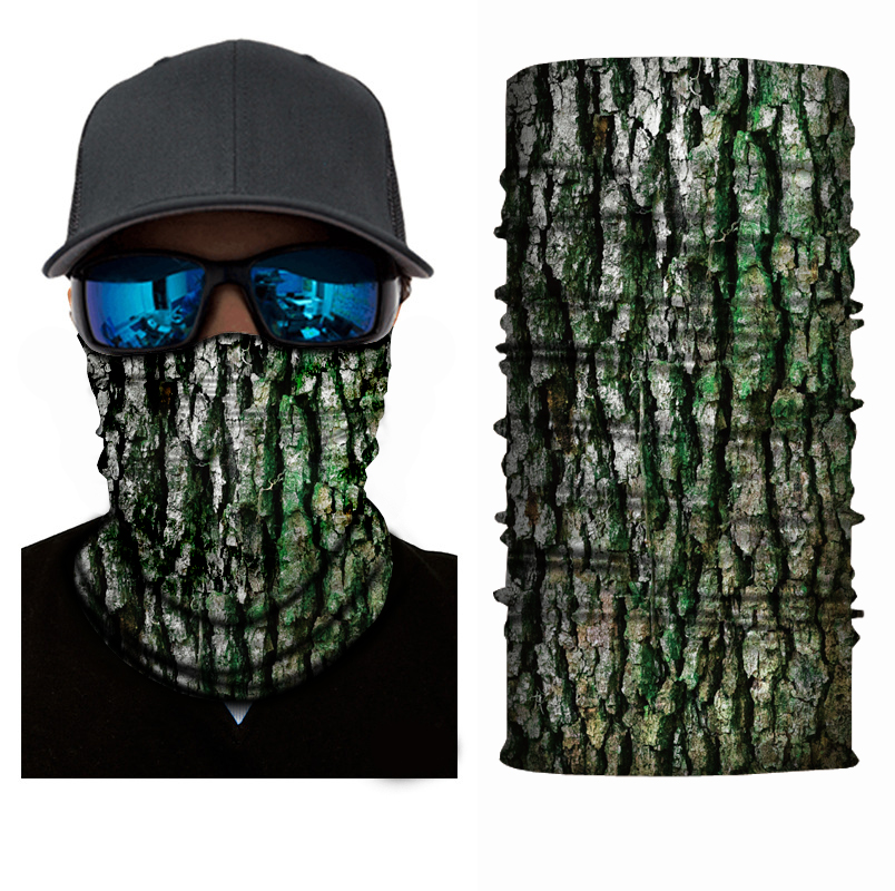 Mr.Kooky 3D Tree Camo Half Face Mask Neck Warmer Headwears Men Women Magic Ring Tubular Scarf Balaclava Coif Sun Protection Gift
