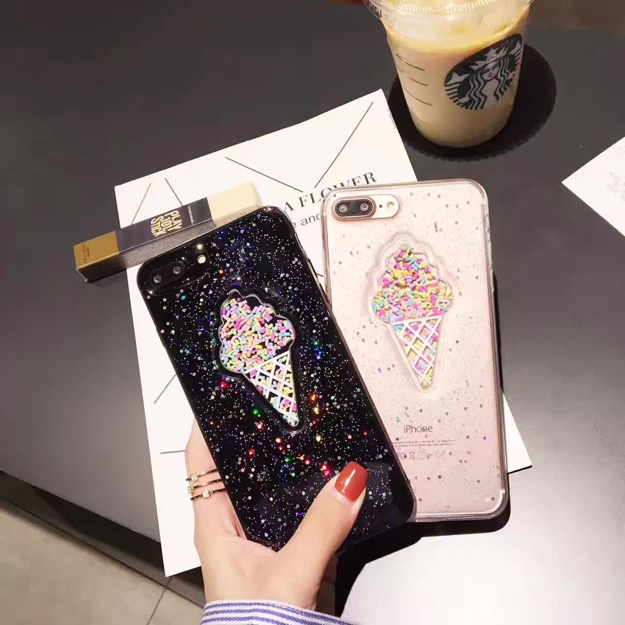 Galleria fotografica AIBOR Lovely Summer 3D Ice Cream Phone Case For iPhone X 6 6S Plus 7 7Plus 8 Plus Shining Glitter Powder Soft Back Cover Coque
