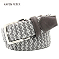 """Elastic Belt Men Woven Elastic Belt High Quality Braided Woven Elastic Stretch Belt With Covered Buckle1-3/8"""" Wide"""
