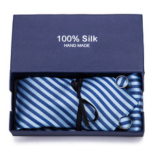 Novelty Striped Plaids  Neck Ties For Men 7.5cm Black Tie 100% Silk Polyester Necktie Wedding Mens Corbatas in Gift Box
