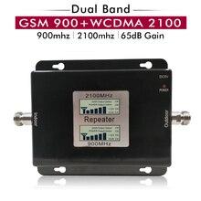 65dB Gain 17dBm AGC double bande répéteur bande 8 GSM 900 LTE bande 1 3G UMTS WCDMA 2100mhz amplificateur de Signal Mobile cellulaire