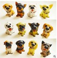 Free shipping 12pcs/lot Little Dog Statue Ornament Resin Craft Home Decoration Accessories Holiday Kawaii Gift Resin Cabochon