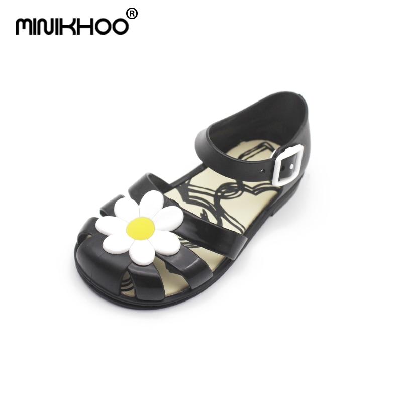 Mini Melissa 2018 New Mini Jelly Sandals Children Leisure Non-slip Flowers Cool Sandals Melissa Princess Roman Shoes Shoes