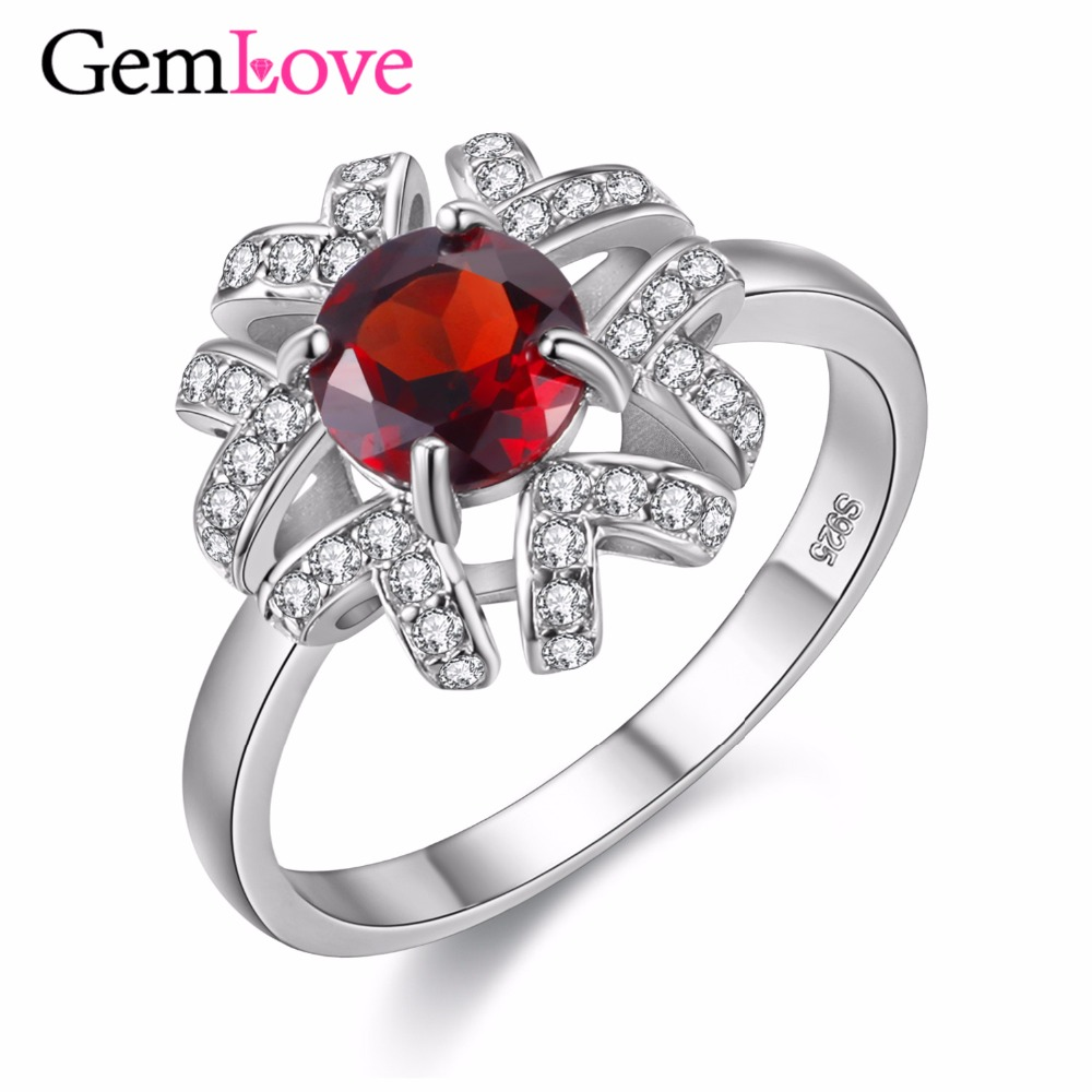 gemlove sterling silver jewelry 1ct natural red garnet ring wedding certificate silver rings with