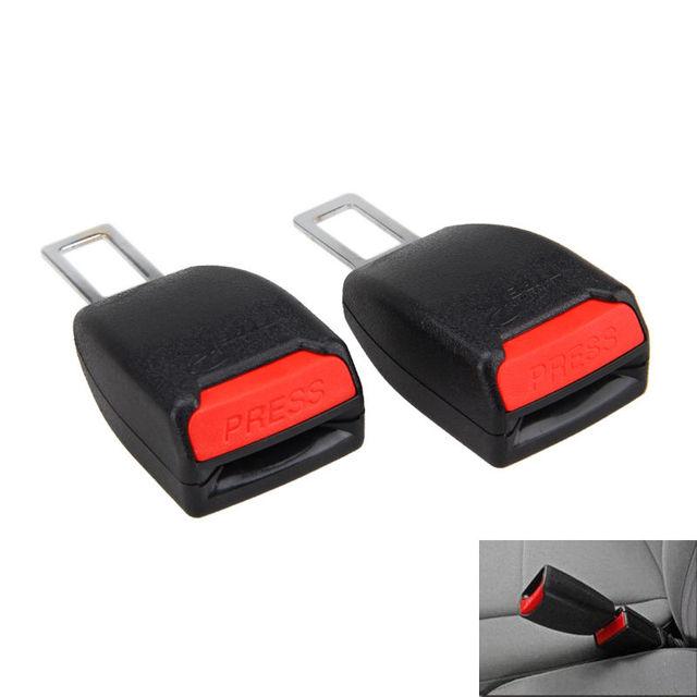 2Pcs Universal Auto Car Safety Seat Belt Buckle Extension Extender Clip Black