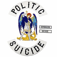 Biker Patch POLITIC SUICIDE Vest Rider Iron On Back of Jacket Patch White twill fabric Free Shipping DIY Patches for Clothing full set biker lives ride free patch iron on embroidery for t shirt jacket clothes free shipping diy design