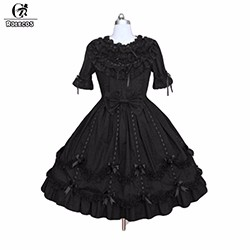 2015-New-Style-Black-Short-Sleeves-Bows-Cotton-Victorian-Vintage-Gothic-Lolita-Dress