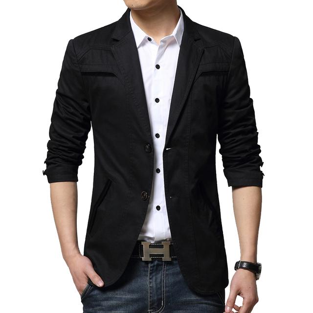 Mens algodón de la manera de Corea slim fit blazer Suit Jacket negro azul beige tallas grandes M 6XL blazers Masculinos Para Hombre abrigo de La Boda vestido