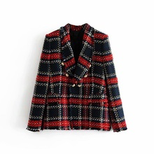 Double Breasted Frayed Checked Tweed Blazers Coat Women 2018 Fashion Pockets Plaid Ladies Outerwear Casual Casaco Femme