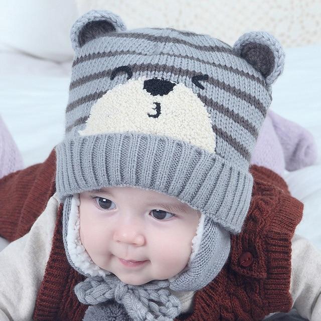 Cappelli del bambino Delle Ragazze Dei Ragazzi Cappello di Lana Inverno  Cappello Del Bambino Con pompon 062b10ada66a