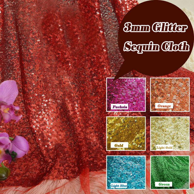 cc5e6d908a US $11.41 10% OFF|1 Yard DIY 3mm Sparkly Embroidery lace Mesh Sequin Fabric  For Backdrop Photo Booth Clothes Events Christmas Decoration 15 Colors-in  ...