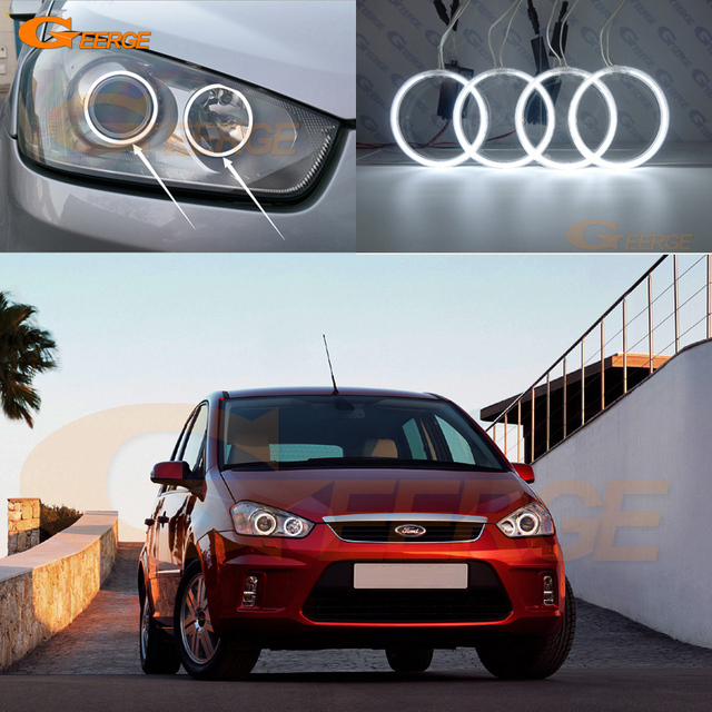 For Ford C Max Mki 2008 2009 2010 Xenon Headlight Excellent Angel Eyes Ultra Bright Illumination Ccfl Kit Halo Ring