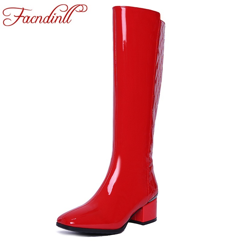 FACNDINLL classic design fashion patent leather autumn winter boots woman knee high boots high heels warm shoes woman long boots for komatsu pc650 3 bucket cylinder repair seal kit excavator service gasket 3 month warranty