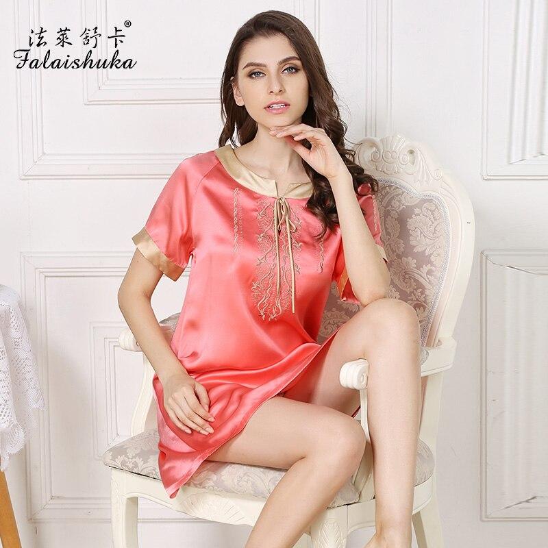 women summer 100% silk nightwear Homewear sexy embroidery patchwork silk sleepwear   nightgowns   for woman plus size   sleepshirts