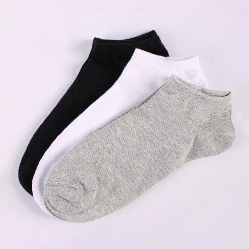 87635f57b Casual Men s Black Socks Elastic Cotton Meias Gray Ankle Length Summer Male  White Sokken Boys Breathable Calcetines Hombre QMH