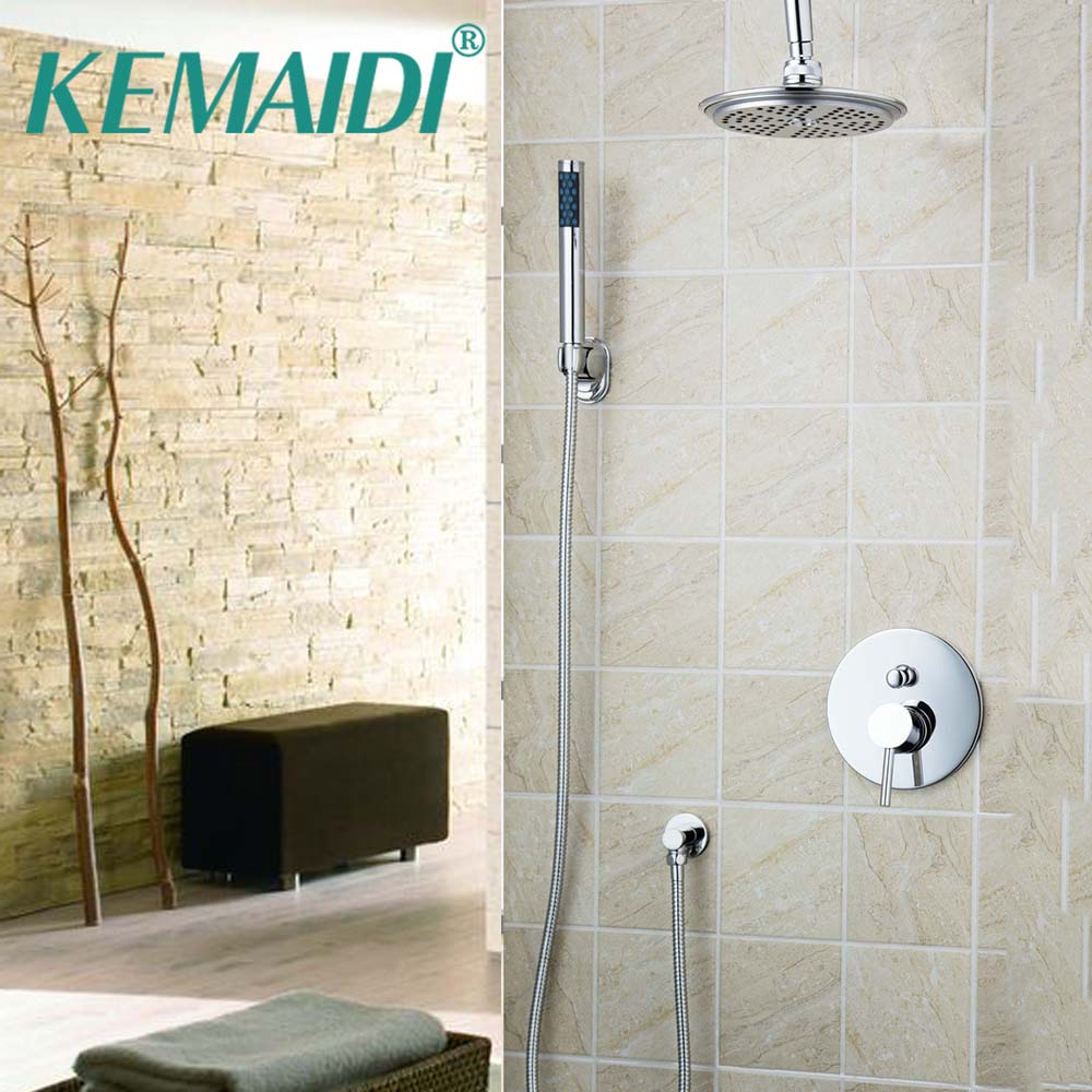 KEMAIDI Bathroom Bathtub Faucet 8 Rainfall Head Sink Wall Mounted +ABS Hand Shower Faucet Shower Set Polised Chrome Torneira free shipping polished chrome finish new wall mounted waterfall bathroom bathtub handheld shower tap mixer faucet yt 5333