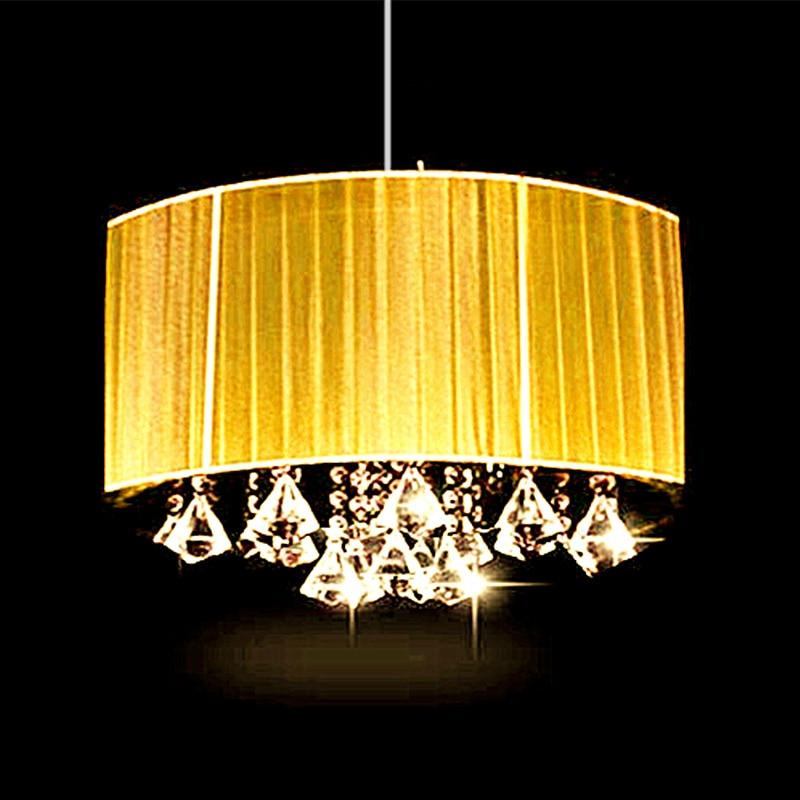 Einfache mode wohnzimmer arbeitszimmer led glanz licht oval kronleuchter gebürstetem stoff lampenschirm k9 kristall luminaria