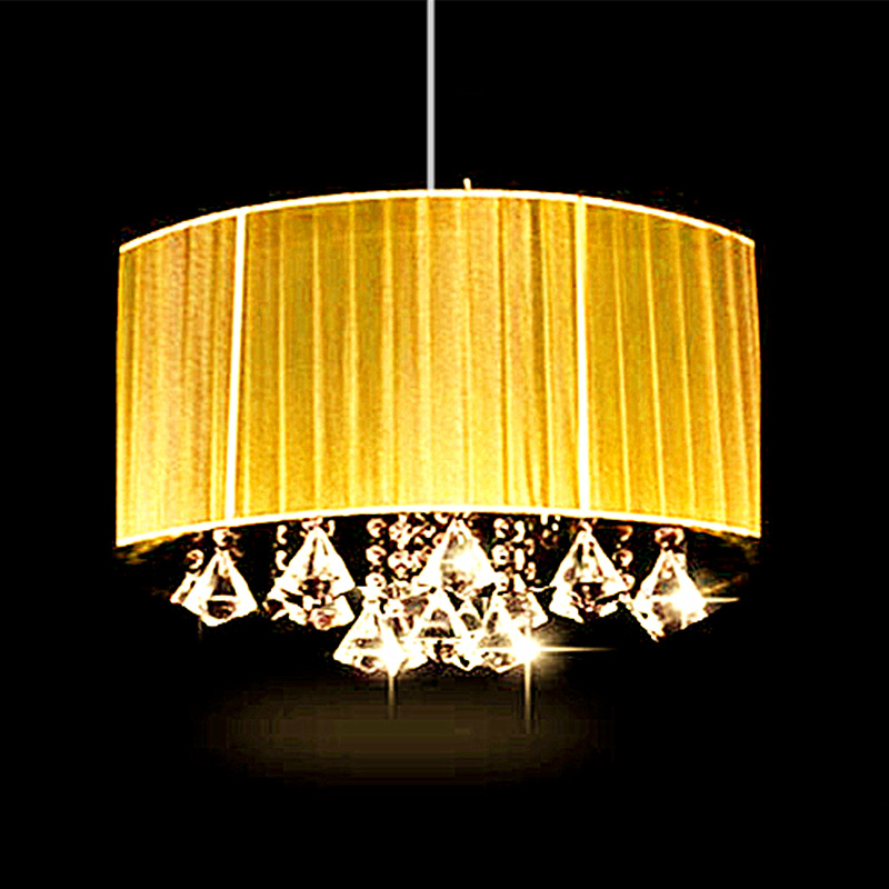 Moda simples sala de estar sala de estudo levou brilho lustre oval lustre de Tecido escovado abajur k9 luminaria de cristal
