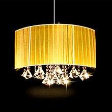 Фотография Simple fashion living room study room led lustre light oval chandelier  Brushed fabric lampshade k9 crystal luminaria