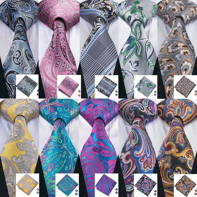 10 Styles Ties For Men Paisley Silk Classic Jacquard Woven Tie Hanky Cufflinks Set For Business Wedding Party Free Shipping