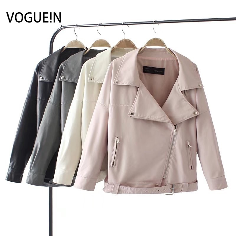 VOGUEIN New Womens Fashion Faux   Leather   Jackets Bomber Coat Loose Outerwear Coat with Belt 4 Colors Wholesale
