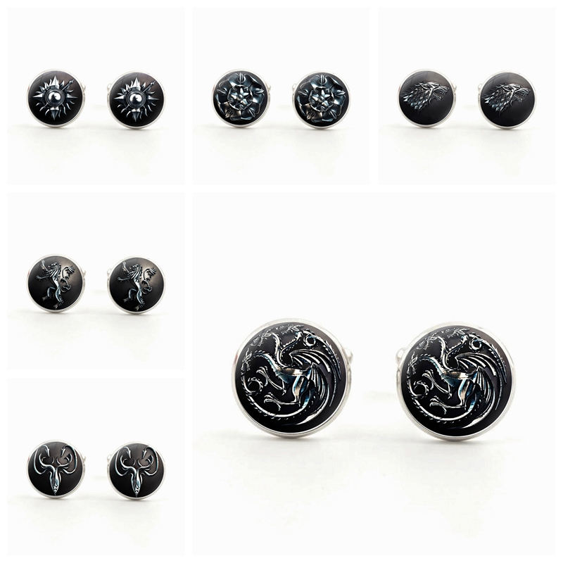 Retro Game of Thrones Cuff All The House Targaryen Cufflinks Silver Plated Glass Dome for Men Sleeve Button Gift Wholesale
