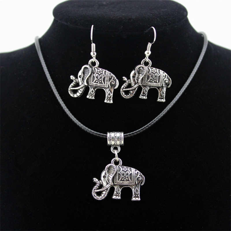 פיל חמוד בעלי חיים רטרו תליוני שרשראות עגילי סטי תכשיטי וינטג 'קולר שמירה על כסף תכשיטי אופנה נשים