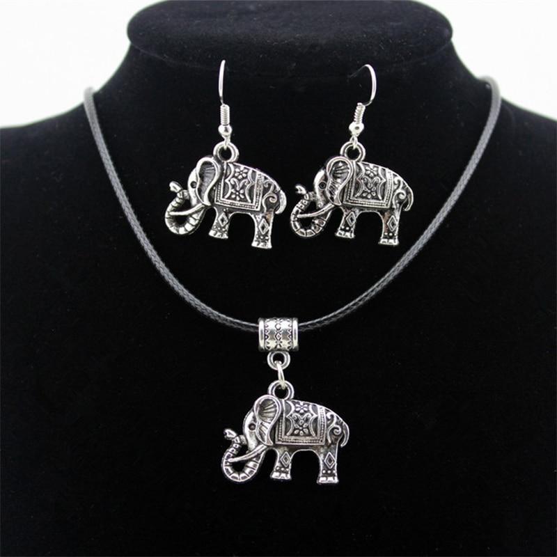 Cute Elephant Jewelry Sets Vintage Retro Animals Pendants Necklaces Earrings Fashion Women Jewelry Silver Statement Choker