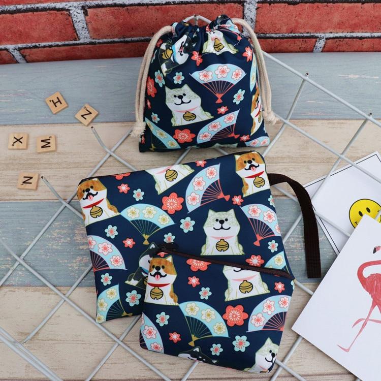 IVYYE 14 or 17CM Shiba Inu Cartoon Drawstring Bags Canvas Storage Handbags Makeup Bag Coin Bundle