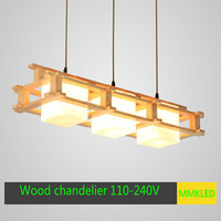 Creative simple Japanese style Korean restaurant bedroom living room pendant lamp Wooden wood and glass chandeliers AC110 240V