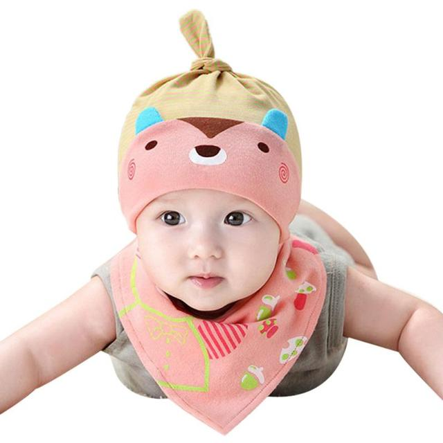 newborn baby photography props Cute Fashion Cubs Pattern Baby Hat Caps Bibs  Suit kids hat baby bonnet topi bayi 9a51a04e235