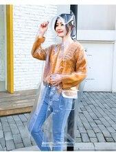 FreeSmily אופנה שקוף מעיל גשם למבוגרים טיולים בחוץ דיג מעיל גשם EVA פלסטיק מעיל גשם להגנת סביבה