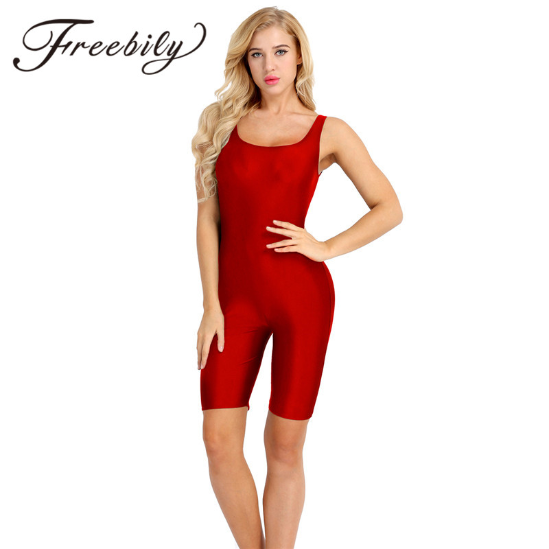 FREEBILY Women Sexy Bodysuit Female Lady One-piece Sleeveless Stretch Soft Skinny Solid Active Dance Leotard Bodysuit Jumpsuit