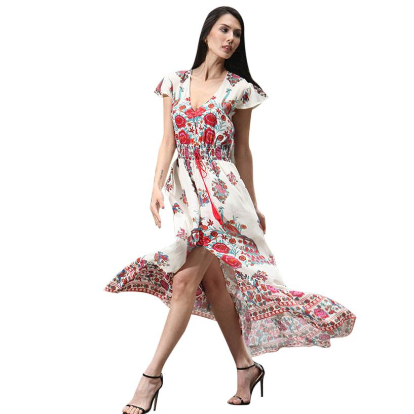 snowshine YLI Women Print Floral Retro Palace V-Neck Evening Party Dress free shipping