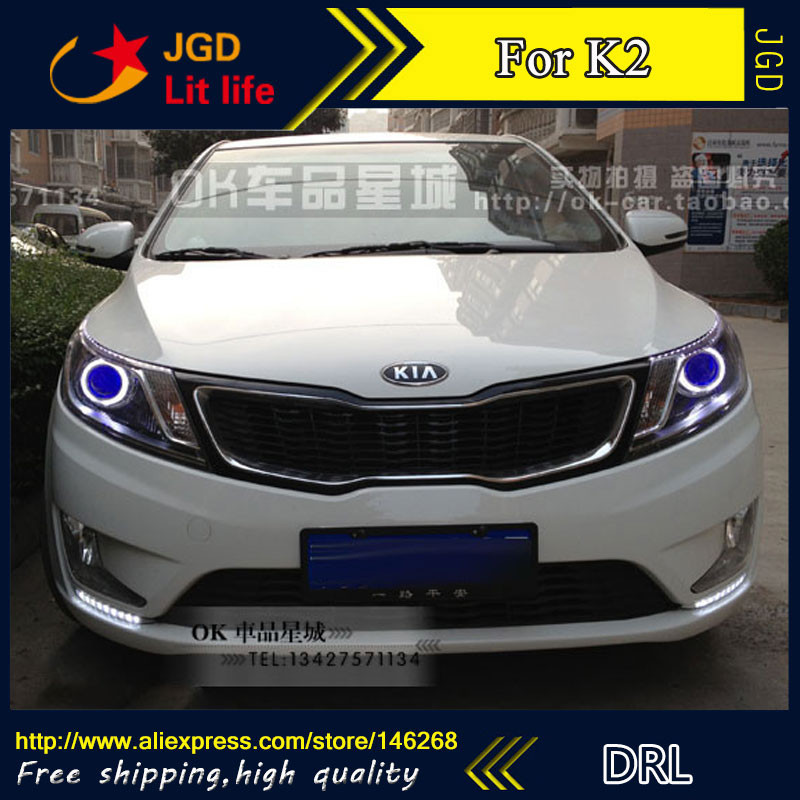Free shipping ! 12V 6000k LED DRL Daytime running light for Kia rio k2 2010 2011 2012 fog lamp frame Fog light Car styling