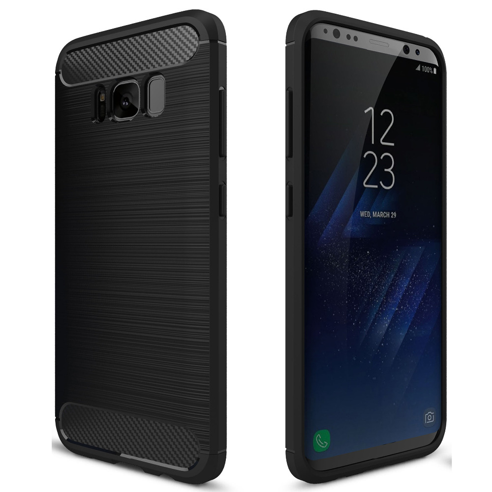 For Samsung Galaxy S 8 & S8 Plus S8+ Shockproof Phone Case Black Brushed Hybrid TPU Carbon Fiber Soft Full Case Bag Cover Shell