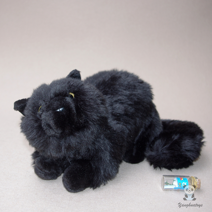 Plush Cats Doll Toys Simulation  Black Persian Cat Stuffed Toy  Accessories  Car Ornaments  Children'S  Birthday Gifts Cute large 24x24 cm simulation white cat with yellow head cat model lifelike big head squatting cat model decoration t187